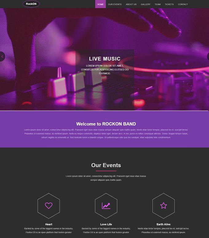 Rockon Music Bootstrap Web Template