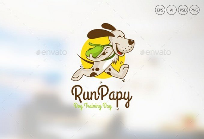 Run Pappy Dog Logo Template