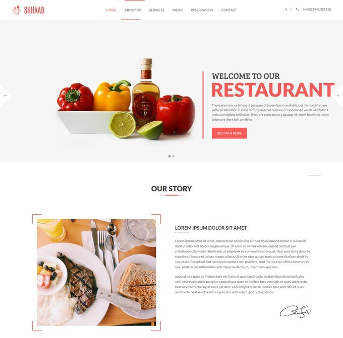 One Page Restaurant HTML5 Template