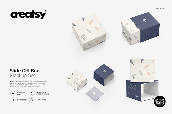 Slide Gift Box Mockup PSD