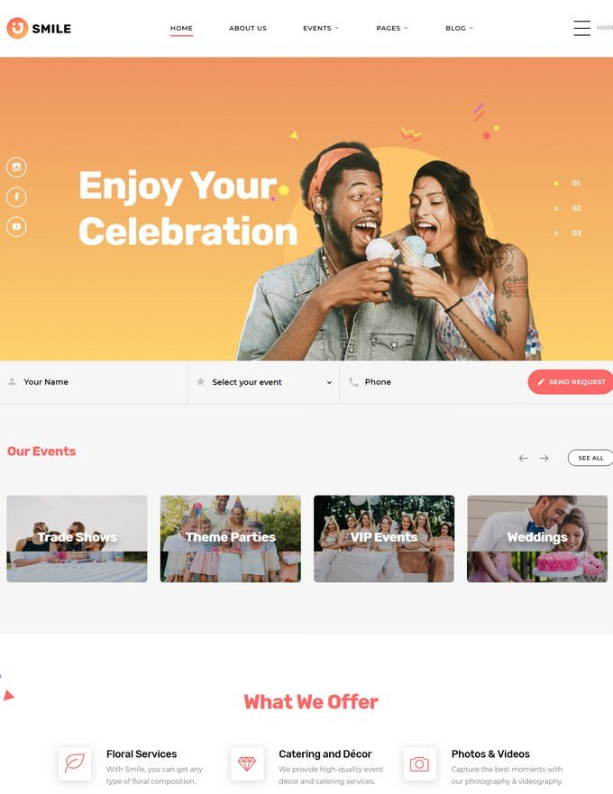 Smile Event Planner Clean Multipage HTML5 Website Template
