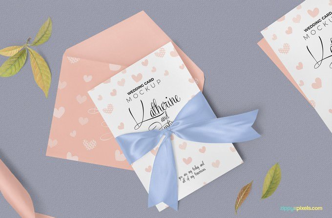 Sophisticated Wedding Invitation Mockup PSD