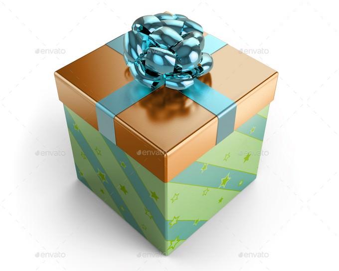 Square Gift Box Mockup PSD