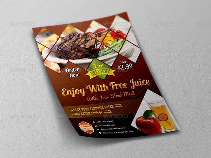 Steak Restaurant Flyer PSD