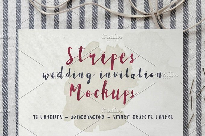 Stripes Wedding Invitation Mockup