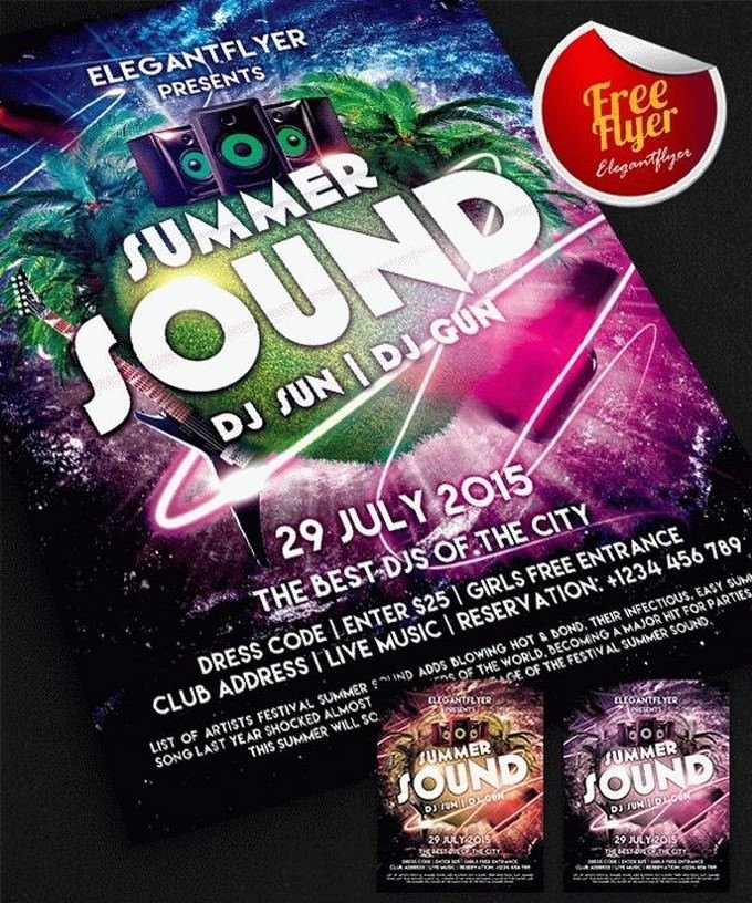 Summer Sound Party Free Flyer