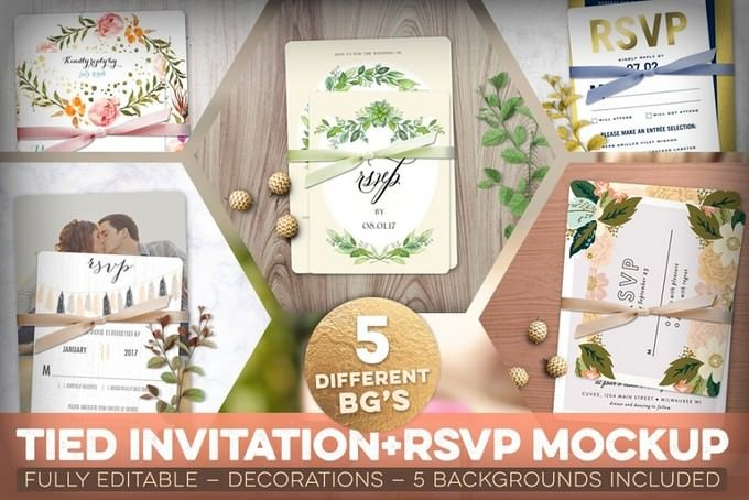 Tied Invitation Mockup