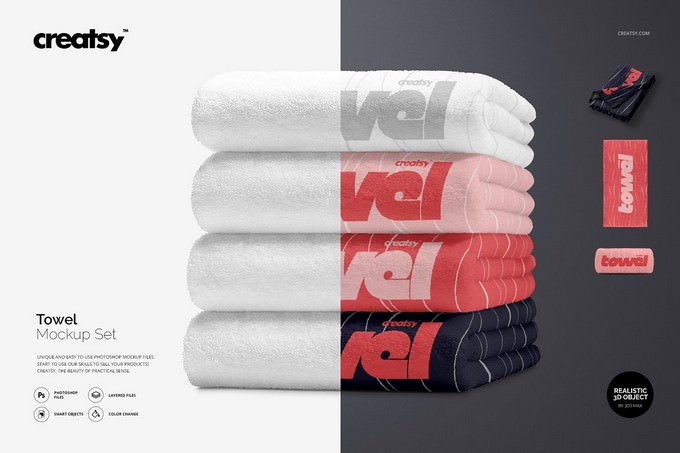 Towel Mockup Set PSD