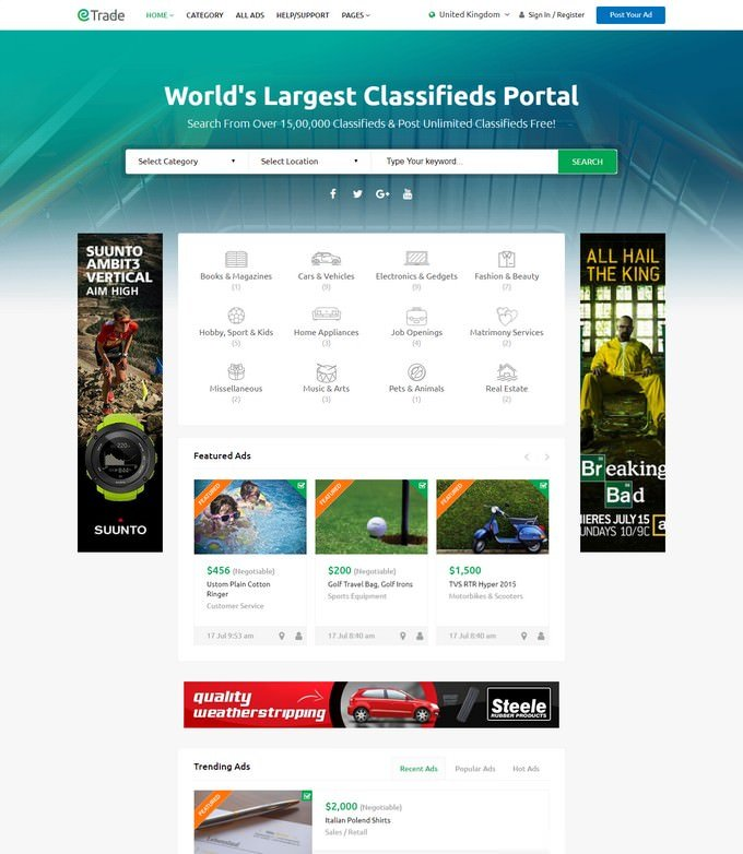 Modern Classified Ads WordPress Theme