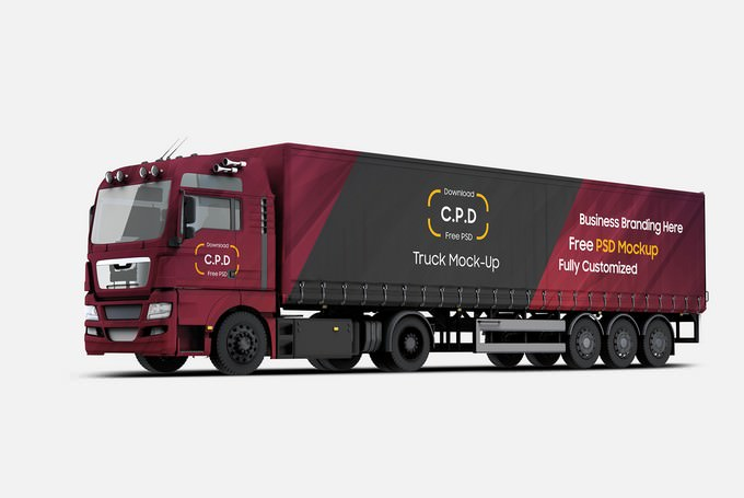 Trailer Truck Mockup PSD