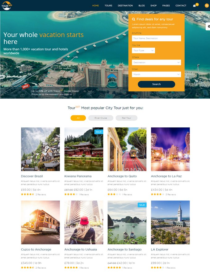 Travel PHP WordPress Theme