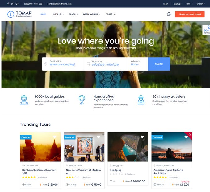Travel Booking PHP WordPress Theme