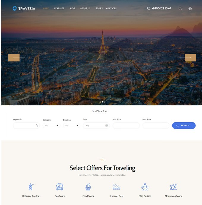 Travesia Travel Agency PHP Theme