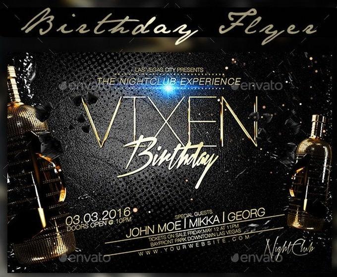 Vixen Birthday Flyer PSD