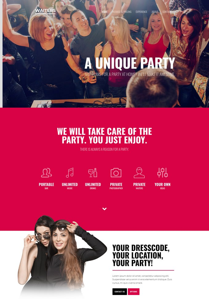 Waiters Event Website Template