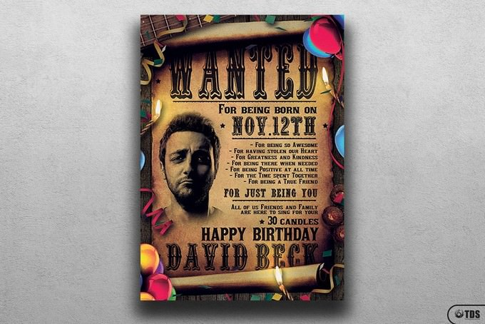 Wanted Birthday Party Flyer