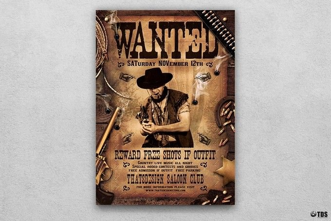 Wanted Western Party Flyer
