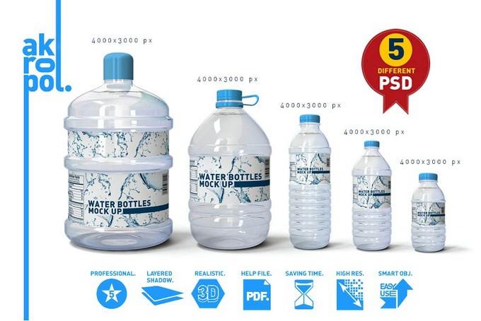 Water Bottles Mock-up PSD