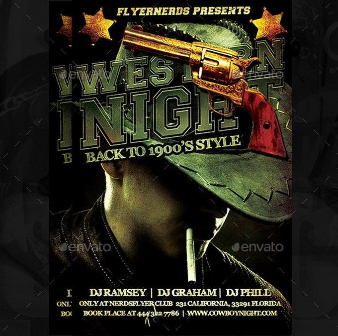 Western Night Party Flyer PSD
