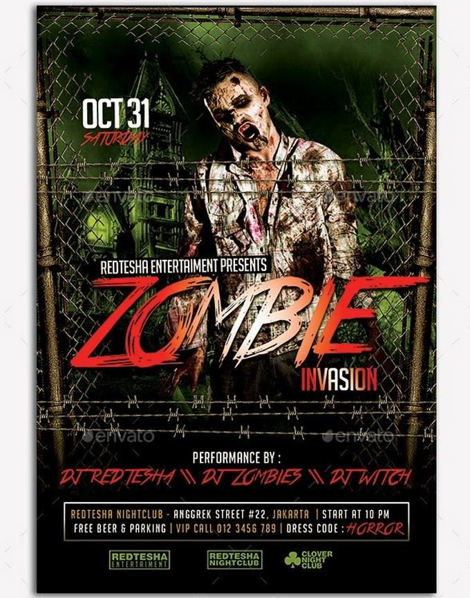 Zombie Invasion Flyer Template