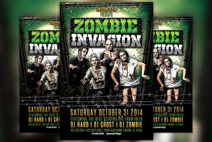 Zombie Invasion Halloween Flyer Template
