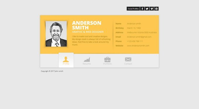 Responsive vCard WordPress Theme