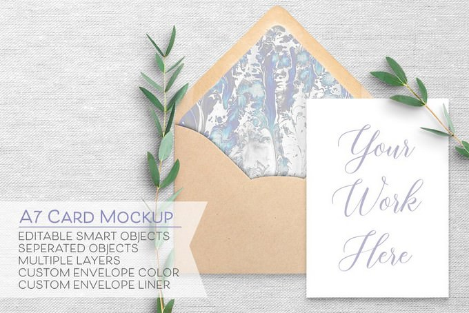 Card & Envelope Mockup - A7