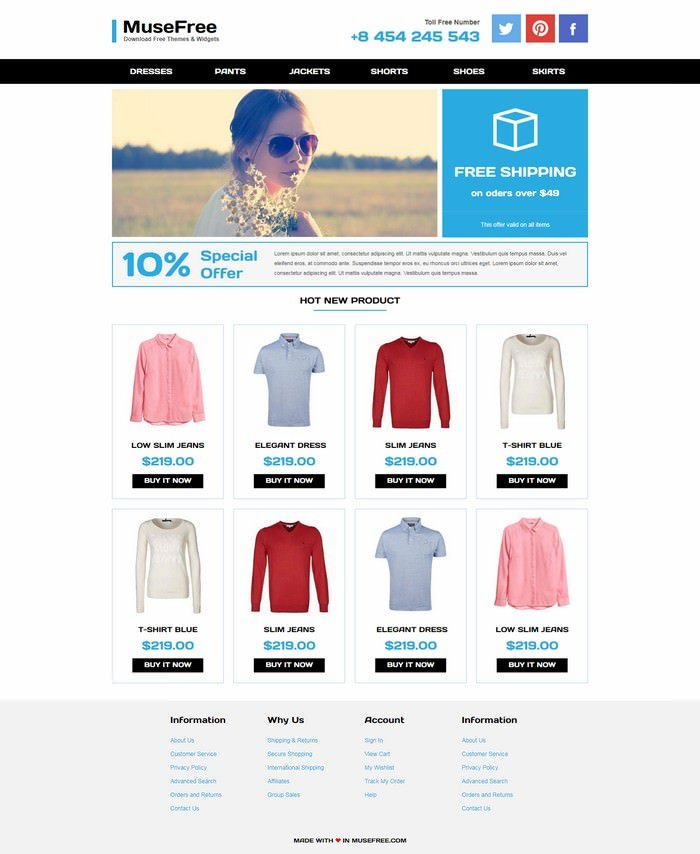 Online Store - Adobe Muse Templates
