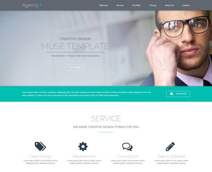 AgencyPlus – One Page Multi-Purpose Muse Template