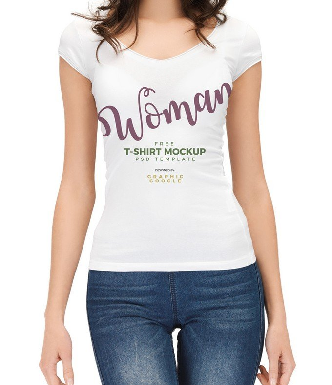 Beautiful Woman Wearing T-Shirt Mockup PSD