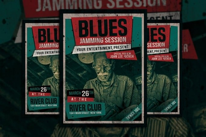 Blues Music Flyer Template