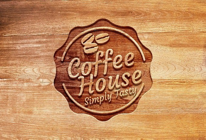 Carved Wood Logo Mockup