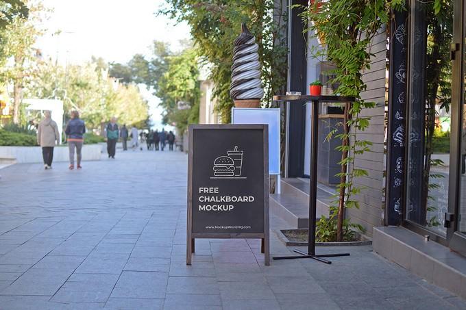 Chalkboard A-Frame Sign Mockup