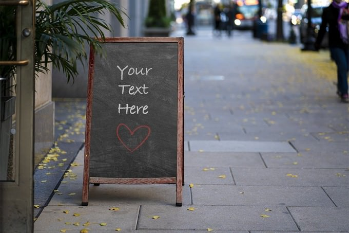 City Street Sign Chalkboard Mockup