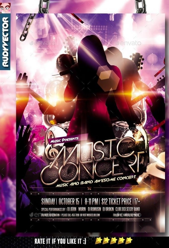 Concert Music Band Flyer Template
