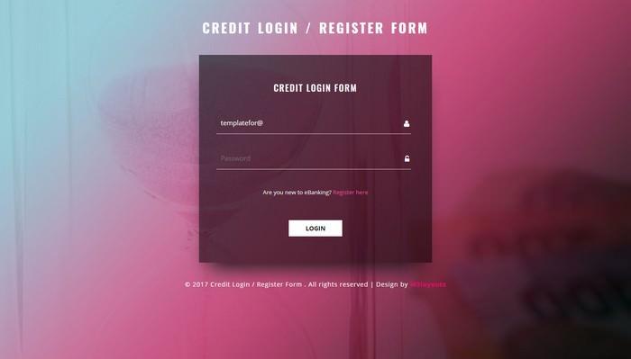 Credit Login and Register Form