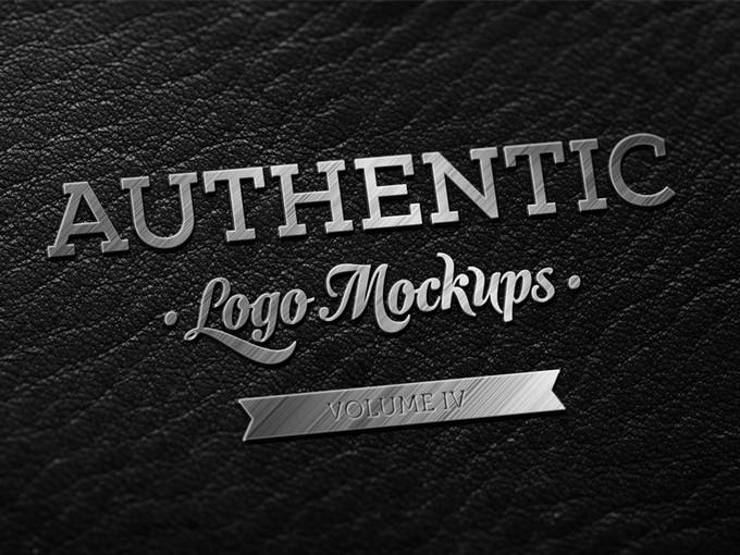 Dark Leather Metallic Finish Logo PSD