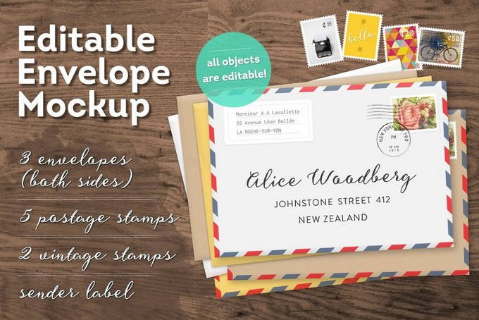 Editable Envelope Mockup PSD