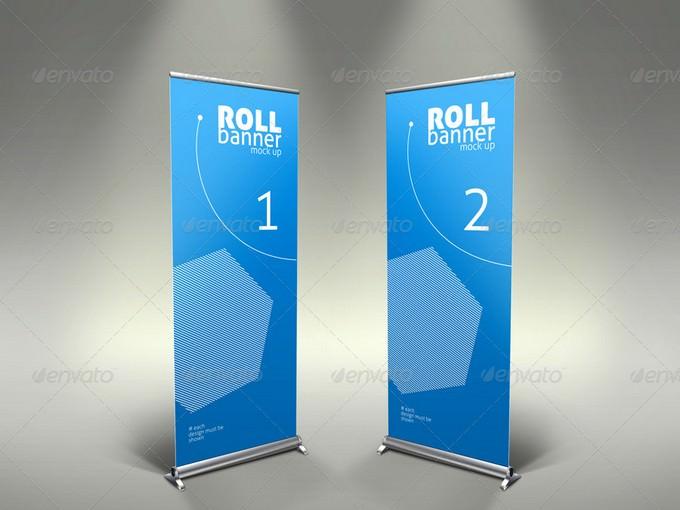 Elegant Professional Roll Up Banner Mock Up PSD