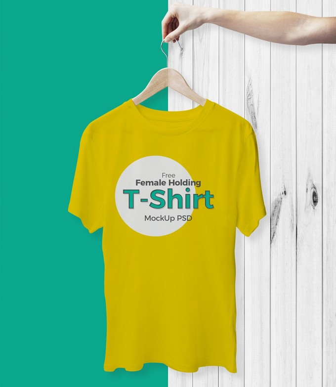 Female Holding T-Shirt Mockup