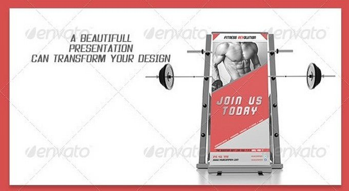 Fitness Roll UP Mock-up PSD