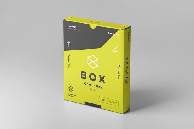 Flat Carton Box Mockup PSD