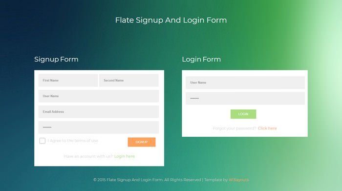 Flate Signup And Login Form Template