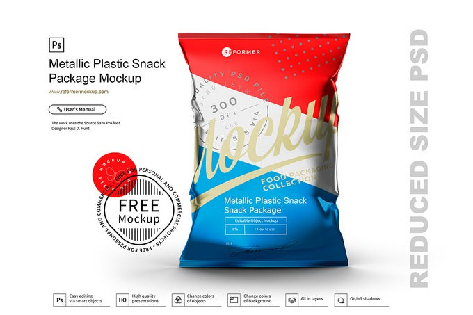 Metallic Plastic Snack Package​​​​​​​ Mockup
