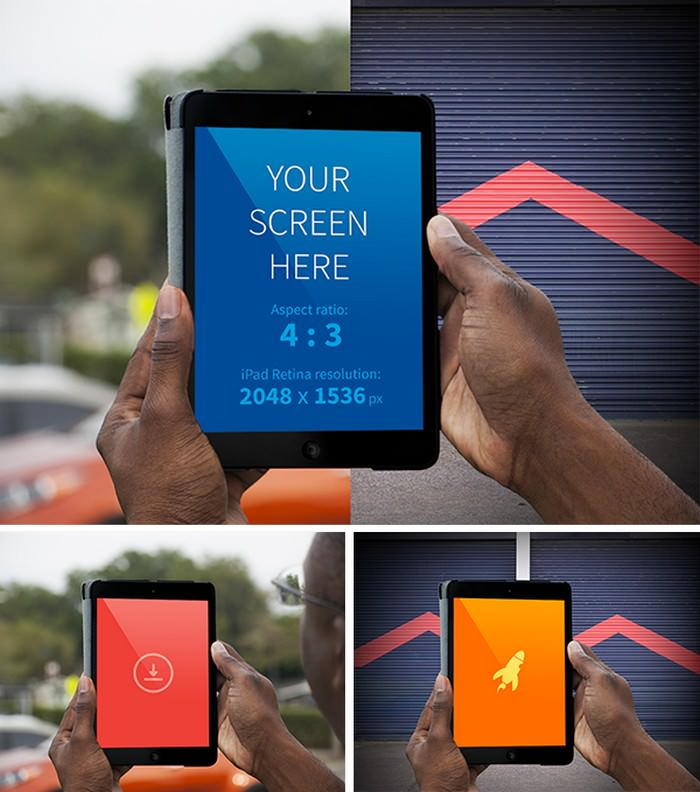PSD Hands holding iPad Realistic Mockup