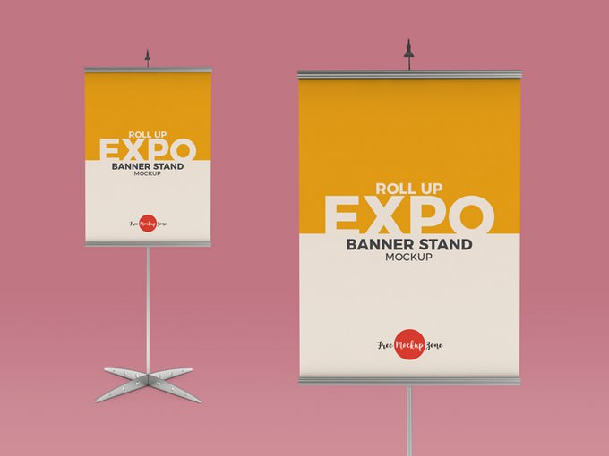 Roll Up Expo Banner Stand Mockup Free