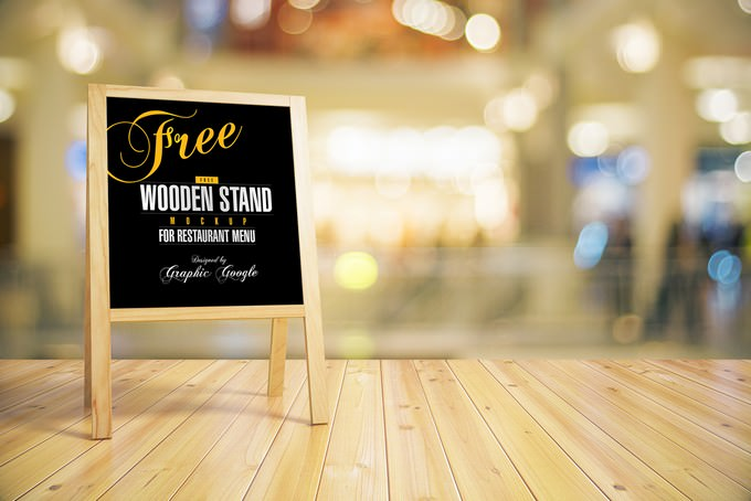 Wooden Stand -Chalkboard MockUp