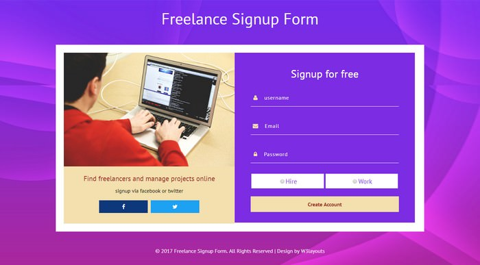 Freelance Signup Form Flat Responsive Widget Template
