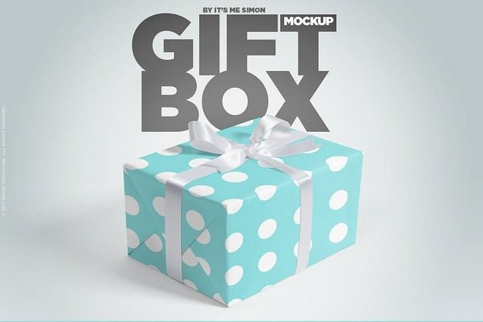 Gift Box Product Mockup PSD