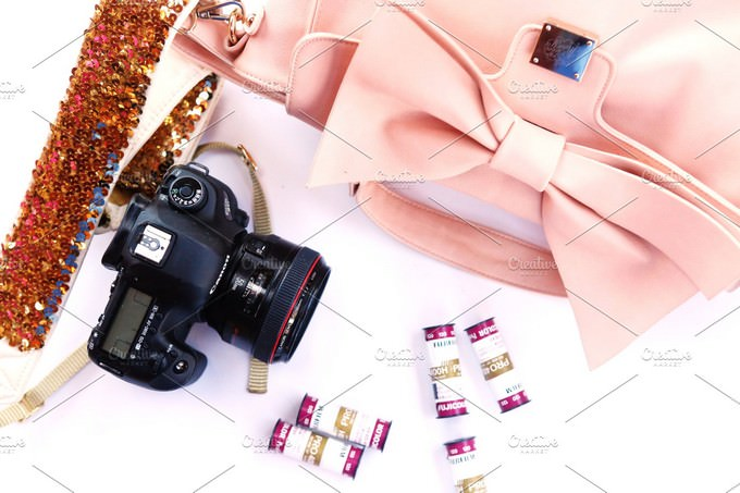 Girly Camera Mockup PSD